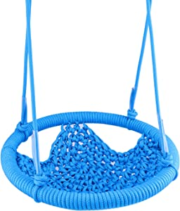 Toddler Swing Sets, Adjustable Rope Hand-Knitting Round Children Swing Chair, Metal Swing Seats for Backyard, Indoor, Outdoor, Tree, Room, Porch, Playground (Blue)