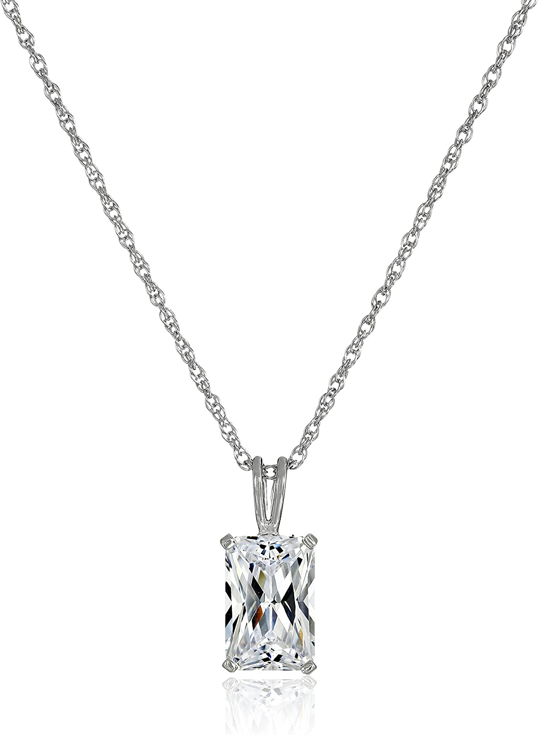 Large Champagne Pear Diamond Alternatives Pendant Necklace White 14k over 925 SS