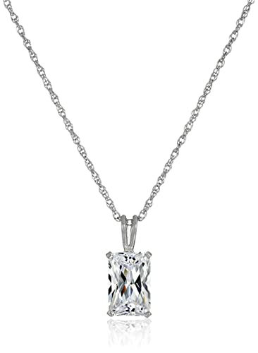 Amazon platinum plated sterling silver emerald cut cubic amazon platinum plated sterling silver emerald cut cubic zirconia solitaire pendant necklace 18 jewelry aloadofball Choice Image