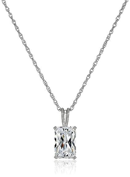 Amazon platinum plated sterling silver emerald cut cubic platinum plated sterling silver emerald cut cubic zirconia solitaire pendant necklace 18quot aloadofball Images