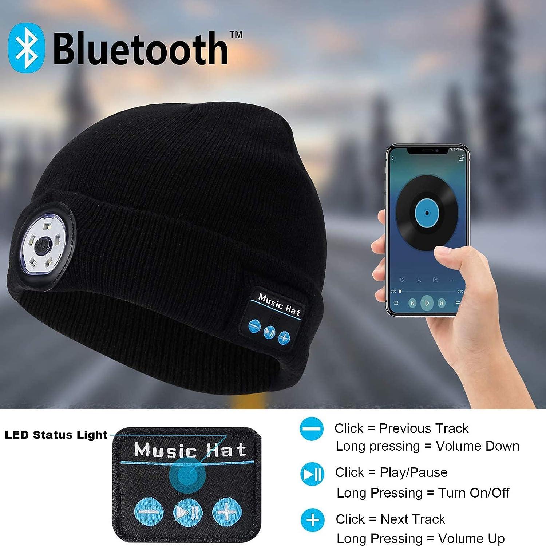 Regalos originales Rpanle Gorro de Invierno Bluetooth 5.0 con LED Faro USB Recargable Gorra Musical Unisex para Correr Esquiar Senderismo Camping Ciclismo//Responder Llamadas//Escuchar M/úsica