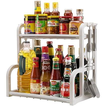 Yxx max Organizador Cocina Cocina de Doble Capa Especias Rack de plástico Botella de condimento Almacenamiento