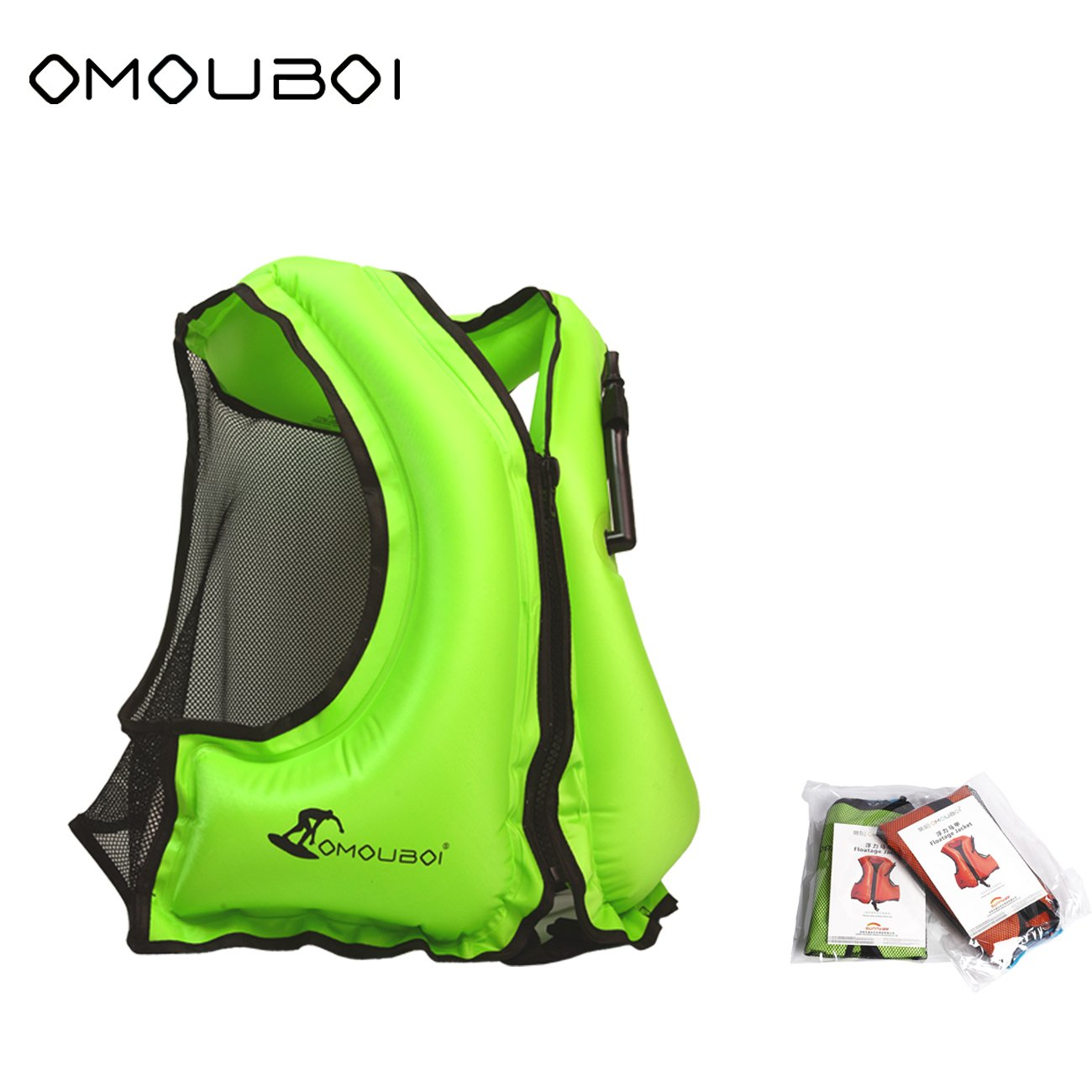 OMOUBOI Inflatable Life Jacket Adult Snorkel Vest Life Vest for Swimming&Diving Suitable for 80-220 lbs (Green)