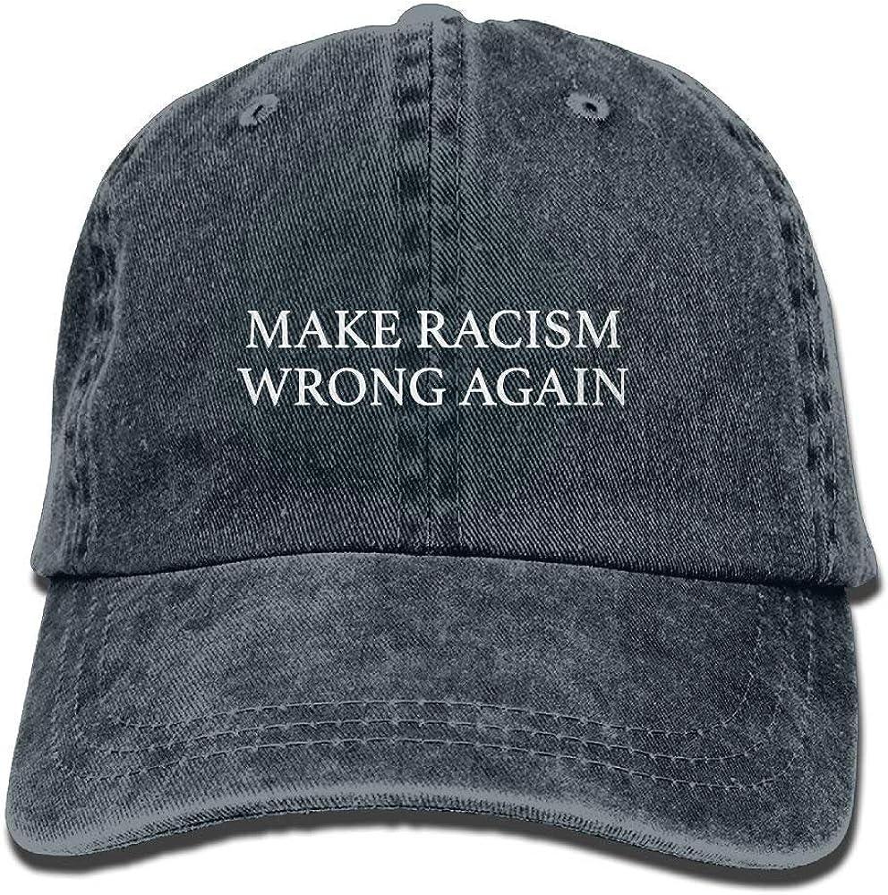N//A Unisex Baseball Cap Make Racism Wrong Again Washed Denim Snapback Cap for Women