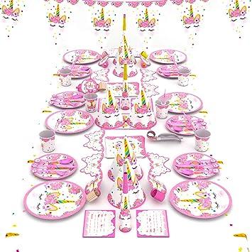 Himeland 90 Teilig Einhorn Party Set Pink Madchen Einhorn