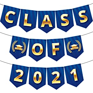 Large Class of 2021 Banner for Graduation Decor - No DIY, 10 Feet | Graduation Banner 2021 | Blue and Gold Graduation Decorations 2021 | Congrats Grad Class of 2021 Decor, Graduation Party Supplies