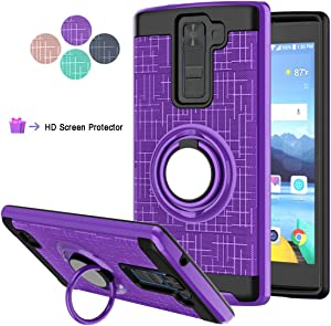 StarLodes Compatible for LG K8 V Phone Case,LG K8V,VS500 Case,[HD Screen Protector] Shockproof Protective Cover with Rotatable Ring Kickstand Fit Magnetic Car Mount-Purple