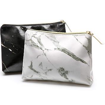 Amazon.com: 2 bolsas de maquillaje de mármol con cremallera ...
