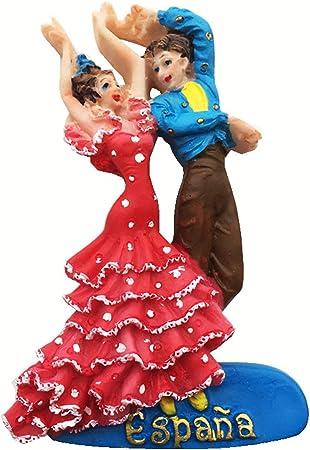 Weekinglo Souvenir Imán de Nevera Bailaora de Flamenco Barcelona España Resina 3D Artesanía Hecha a Mano Viaje de la Ciudad Recuerdo Carta de colección Nevera Etiqueta: Amazon.es: Hogar