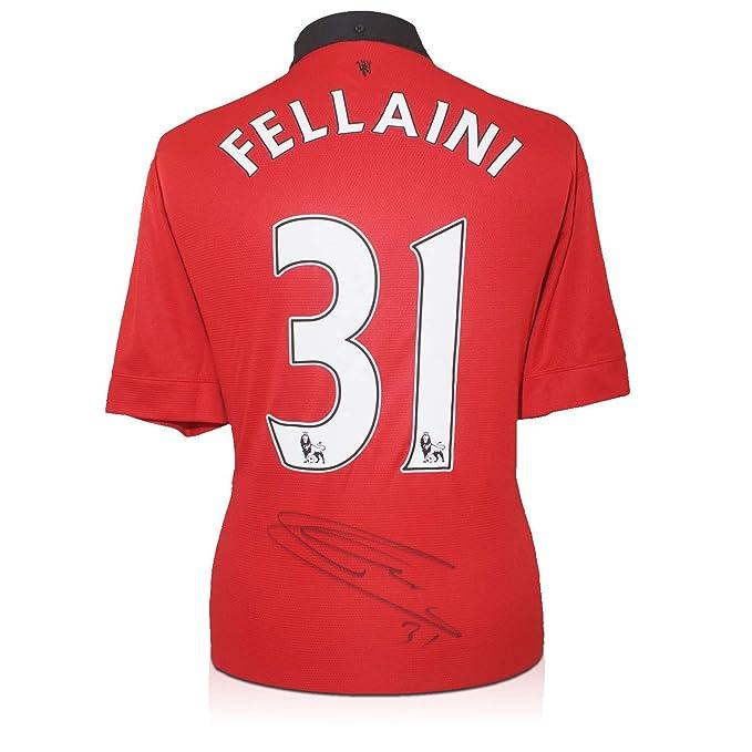 Marouane Fellaini Firmado camiseta de fútbol Manchester United en caja de regalo: Amazon.es: Deportes y aire libre
