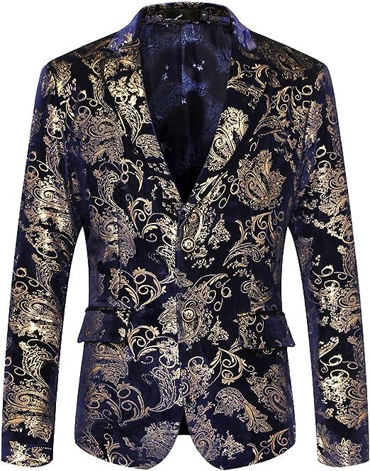 Men Jacket Casual Blazer Printed Suit Notched Lapel Slim Fit Stylish Outerwear