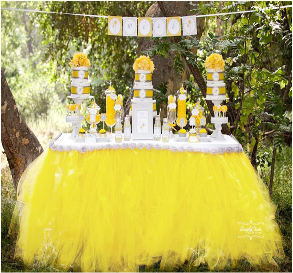 Tutu Table Skirt Fluffy Tulle Lace Table Skirting for Rectangle or Round Tablecloth Party Decoration 1 Yard (Lemon Yellow)