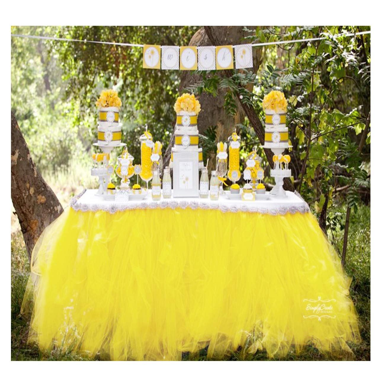 Tutu Table Skirt Fluffy Tulle Lace Table Skirting for Rectangle or Round Tablecloth Party Decoration 1 Yard (Lemon Yellow) by HoneyDec