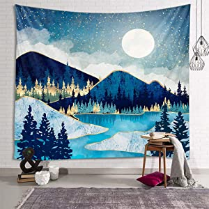 fangzhuo Blue Mountain Tapestry for Bedroom Moon Forest Wall Tapestry River Gloden Star Nature Tapestry Indie Room Decor for Livingroom Dorm Home W59 x L51