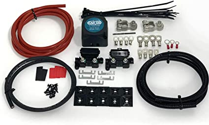 9mtr Split Charge Relay kit with Cargo 12V 140amp Voltage sense Relay /& 110amp Ready Made Leads SCKC309