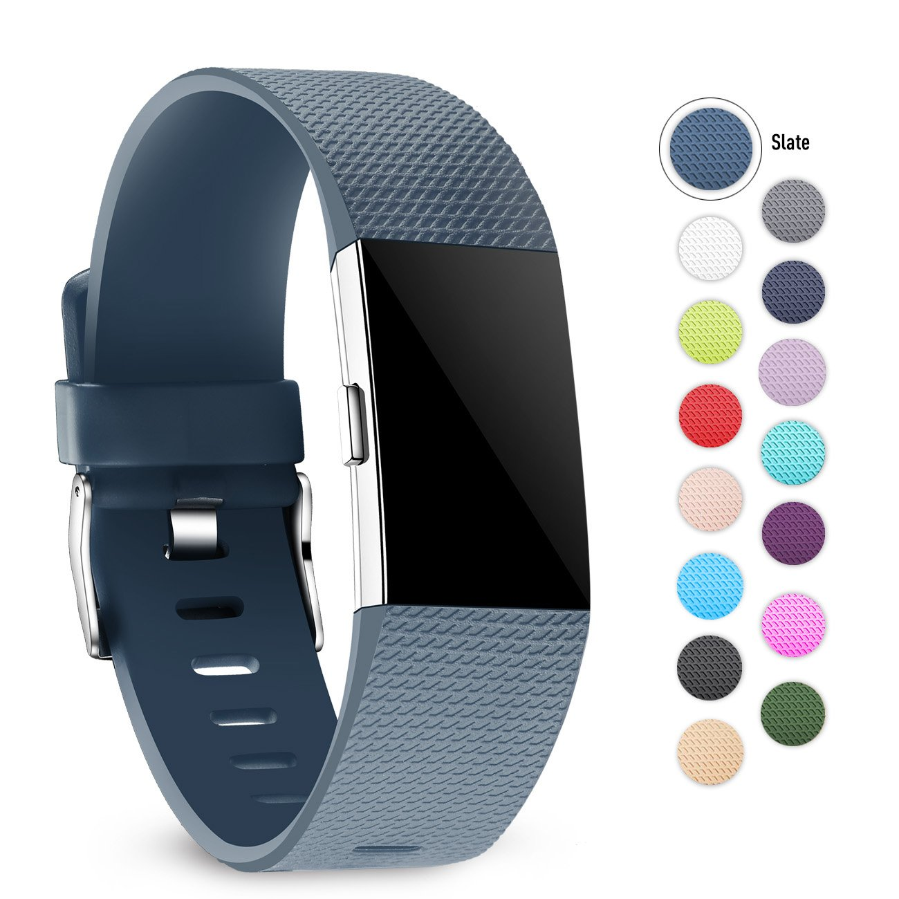 crefort for Fitbit Charge 2バンド、交換用アクセサリーWristbands for Fitbit Charge HR、2 Large Smallレディース、メンズ、マルチカラー B079KRMBB7 スレート Small