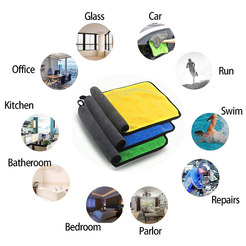 Chiffons Microfibre TINDERALA Serviettes de Nettoyage pour Voiture Paquet de 3 11.8 x15.8 Serviette de Nettoyage /à S/échage /à L/éponge Ultra-/épaisse en Microfibre pour le Nettoyage /à La Cire 840 GSM