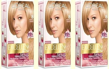 LOreal Excellence Creme 8 Rubio Claro Tinte para el cabello, 3 unidades