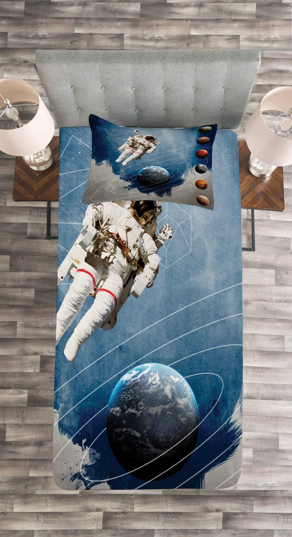 Astronaut Planeten Weltraum Mehrfarbig Set mit Kissenbezug luftdurchl/ässig ABAKUHAUS Weltraum Tagesdecke Set f/ür Einselbetten 170 x 220 cm