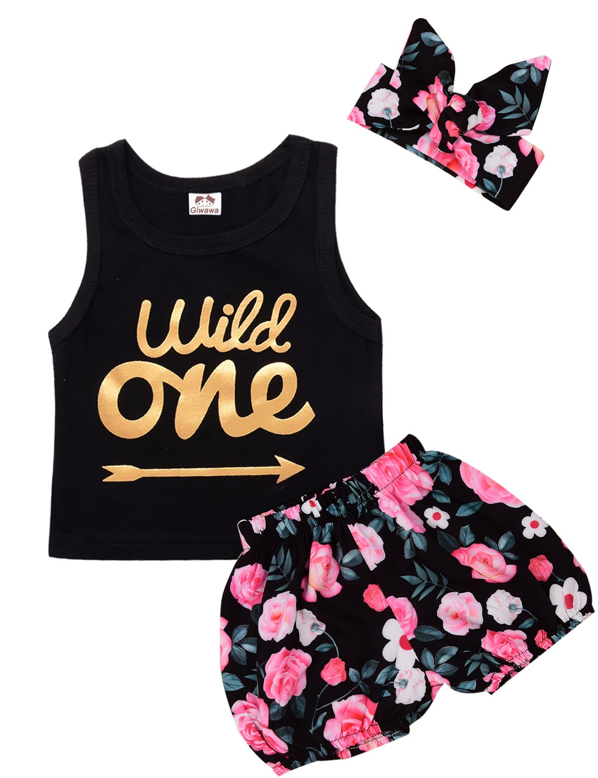 Giwawa 3Pcs Baby Girls Floral Vest Skirt Outfit Set With Headband (12-18 Months, Black)