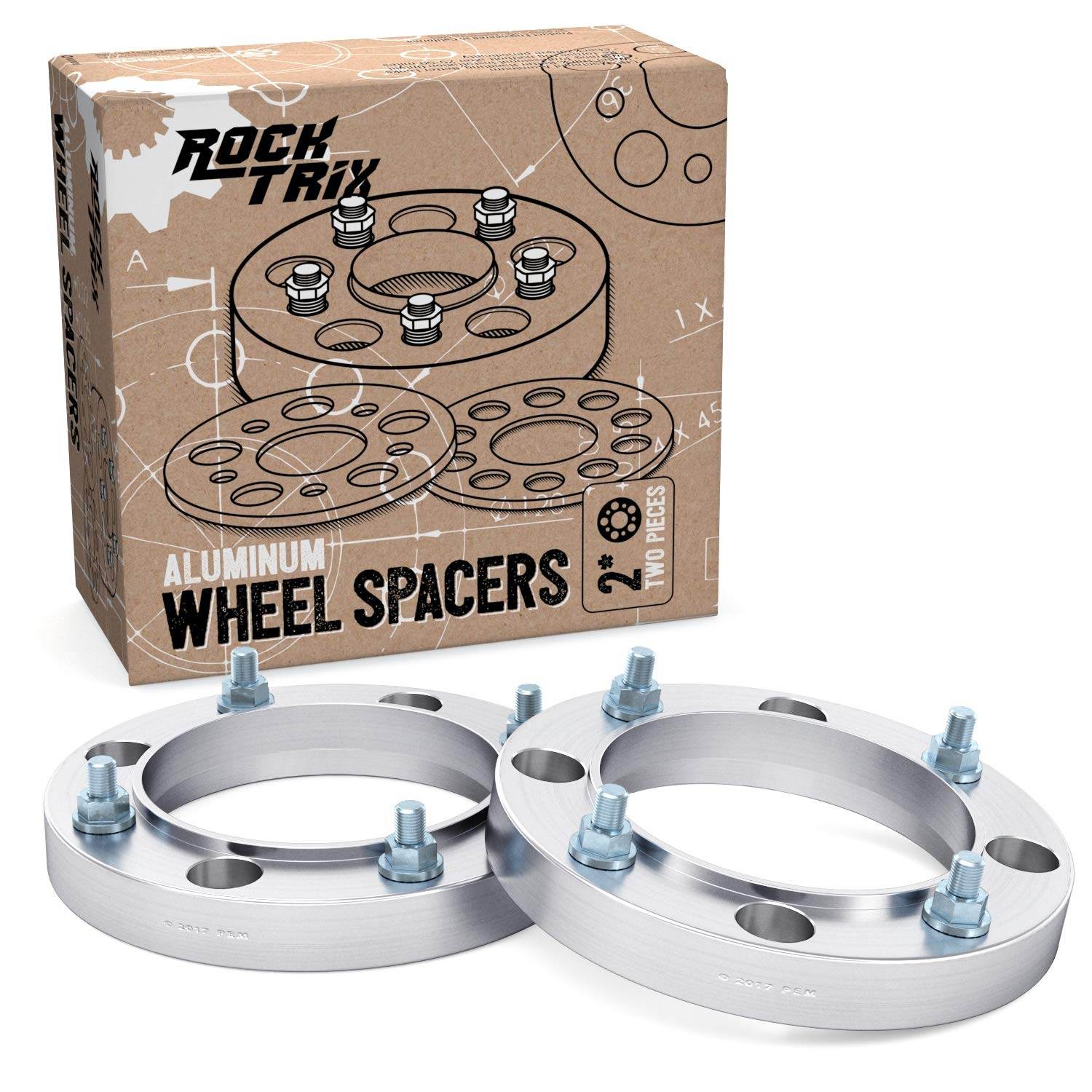 RockTrix for Precision European - (2) 1' Thick 4x156 ATV Wheel Spacers with 3/8' Studs & Nuts - for many Polaris & Kawasaki: Predator Ranger RZR Sportsman XP Lakota Mojave Tecate (4/156) Silver Precision European Motorwerks