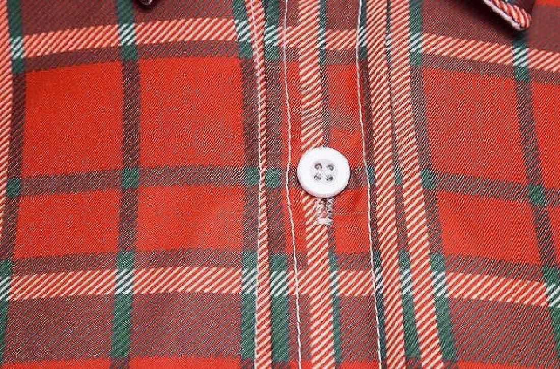 Jofemuho Men Casual Business Plaid Print Slim Long Sleeve Dress Checkered Shirt