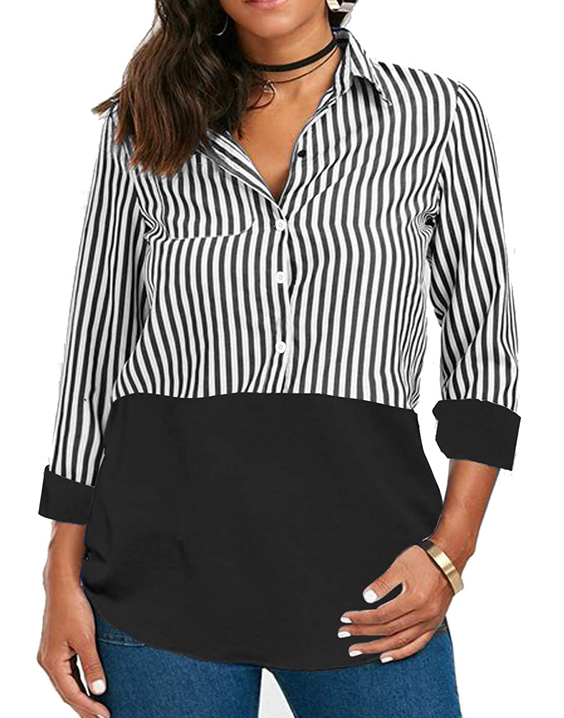 18056f72ded Amazon.com: Women Long Sleeve Blouse T Shirt Tops Tunic Button Blouses Work  Ladies Striped Tshirt Casual Juniors V Neck: Clothing