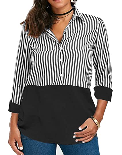 c7ab3b3630 Women Long Sleeve Blouse T Shirt Tops Tunic Button Blouses Work Ladies  Striped Tshirt Casual Juniors