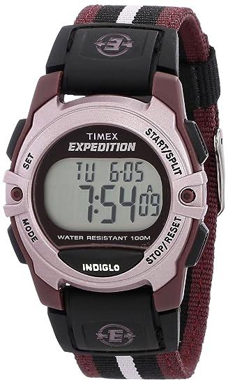 e2a7eb834488 Timex Unisex T49659 Expedition Classic Digital Chrono Alarm Timer Plum Fast  Wrap Buckle Strap Watch