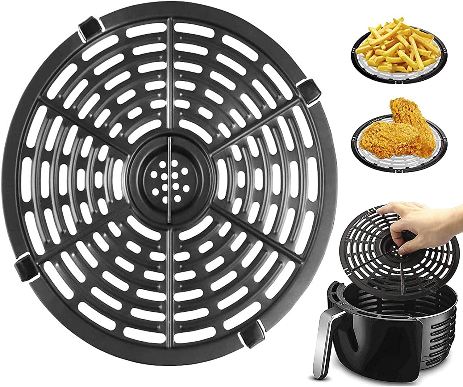 Air Fryer Grill Pan Replacement, 8.26'' Air Fryers Accessories, Non-Stick Fry Pan Crisper Plate For Gowise, Powerxl, Gourmia, Dash, Emeril Lagasse Air Fryer Pans, Dishwasher Safe (8 inch)