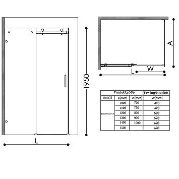 TBH: 90 x 115 x 195 cm Diseño Mampara ravenna17 - 2, forma de L ...