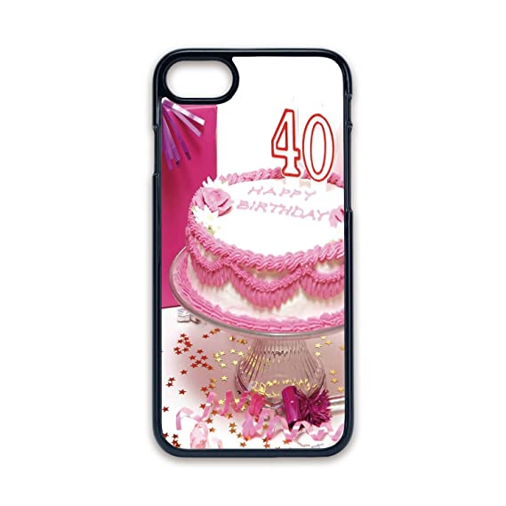 Phone Case Compatible With IPhone7 IPhone8 Black Edge Fashion Personality40th Birthday DecorationsPink