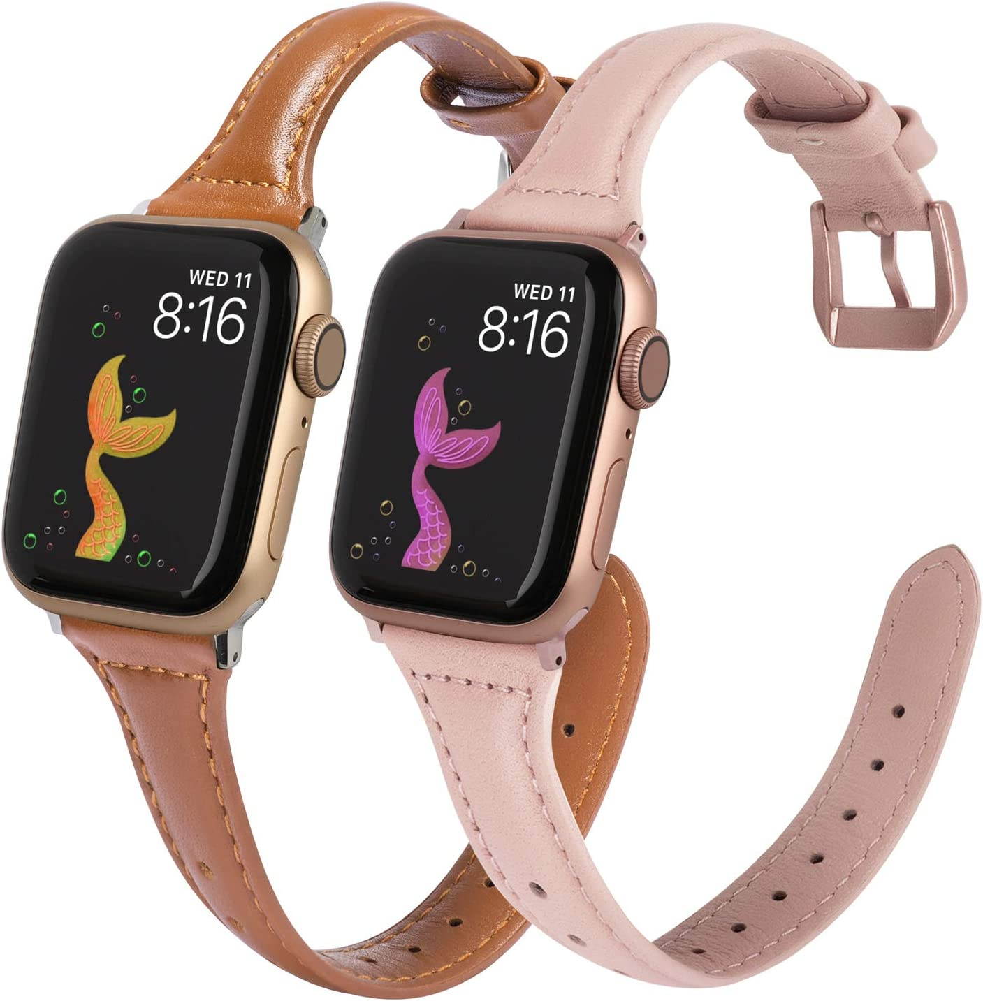 Minyee 2-Pack Leather Bands Compatible with Apple Watch 38mm 40mm Womens Thin Cute Slim Wristband, Durable Soft Classic Small Strap for iWatch SE Series 6 5 4 3 2 1 (38mm 40mm, Brown/Rose Pink)