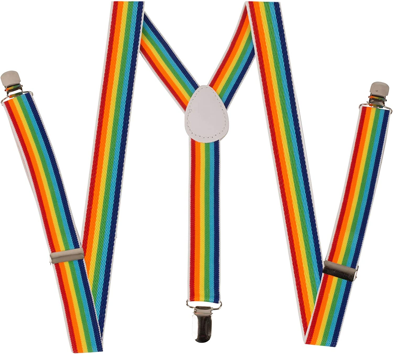 "Unisex Clip-on Braces Elastic /""Rainbow/"" Y-Back Suspender 1 1//2/"""