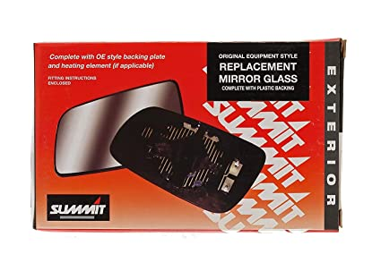 Summit Replacement Heated Wide Angle Mirror Glass With Backing Plate Fits on lhs of vehicle