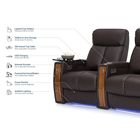 Seatcraft Seville Home Theater Seating Leather Power Recline with SoundShaker, in-arm Storage, Base Lighting, and Lighted Cup Holders Brown, Row of 4 with Middle Loveseat