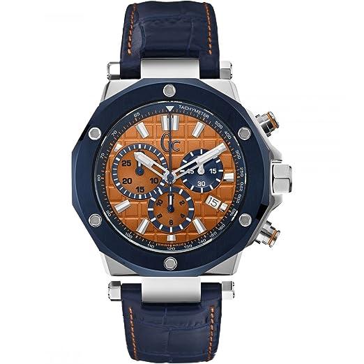 GUESS Reloj Cronógrafo para Hombre de Cuarzo con Correa en Cuero X72031G7S: Amazon.es: Relojes