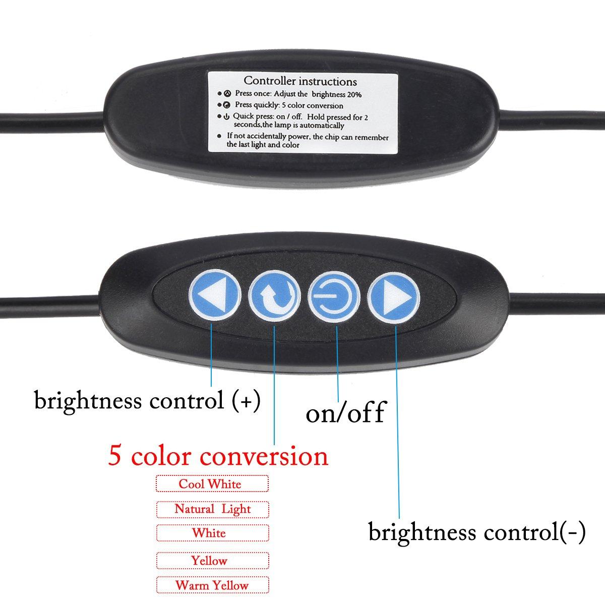Kernorv Clip on Light/Reading Lights, 5W LED USB Dimmable 5 Color Modes Clip on Light Adjustable Brightness Portable Bed Reading Light Clip Lights for Bed Desk Headboard by Kernorv (Image #4)