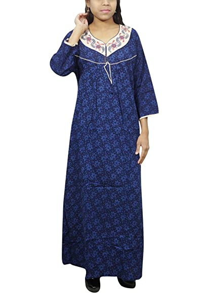 Indiatrendzs Womens Cotton Nightdress Long Printed Blue House Wear Nightgown  XXL  Amazon.in  Clothing   Accessories 7cd2d016c