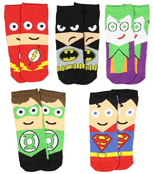 5785c4290513 Image Unavailable. Image not available for. Color: DC Comics Mens Superhero  Cartoon Character Socks 5 Pair