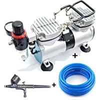 Elephant Double Piston Mini Air Compressor and Painter Air Brush with 3 m PU Pipe and 2 Way Connector (Multicolour)