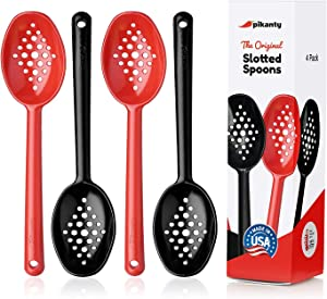 Pikanty Small Slotted Serving Spoons 7-Inches Length Made in USA (Red/Black)