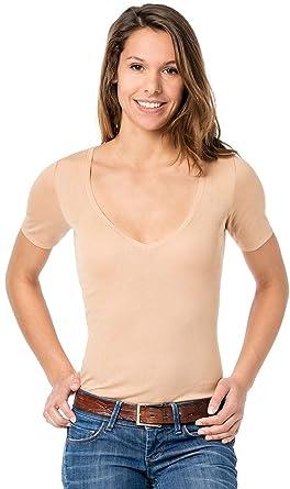 08a57fdd187b39 Hautfarbenes Damen Unterhemd - Unterhemd unsichtbar mit V-Ausschnitt - Business  Unterhemd Damen (36