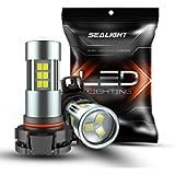 SEALIGHT 5202 LED Fog Lights Bulbs Xenon White 6000K Daytime Running Lights 2504/H16 TYPE 1(European Type Not for Japan…