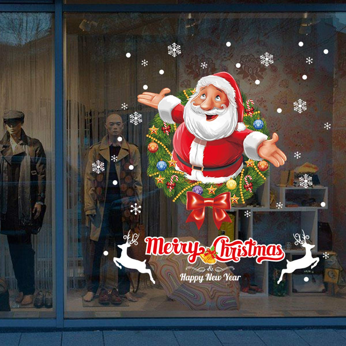 Sunm boutique Christmas Window Clings Decal Santa Claus Snowflake Wall Stickers Christmas Decorations Removable Art Decor Wall Decal