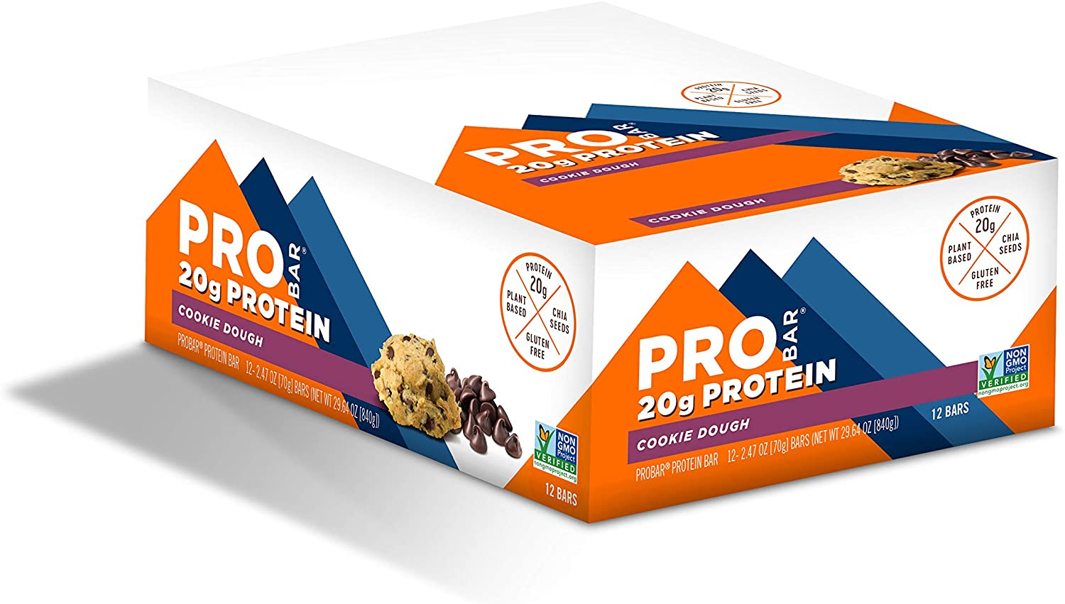 PROBAR - Base Protein Bar, Cookie Dough, Non-GMO, Gluten-Free, Healthy, Plant-Based Whole Food Ingredients, Natural Energy (12 Count)
