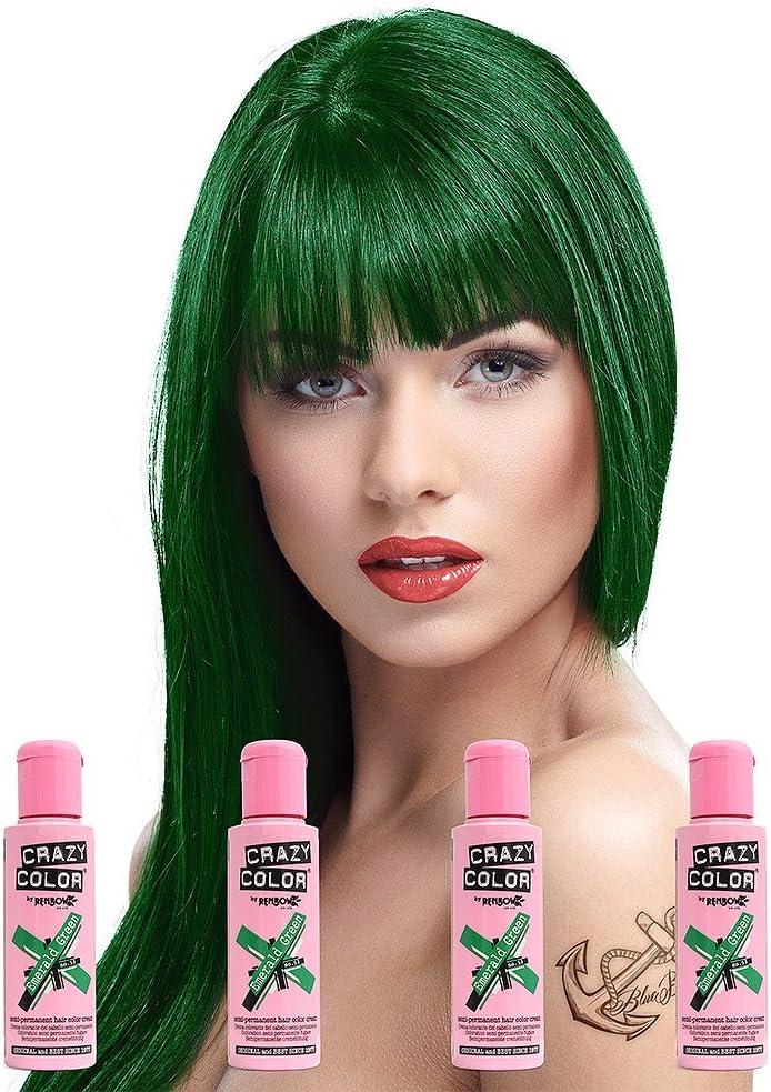 Tinte de pelo Crazy Color semipermanente, color verde esmeralda, 100 ml, 4 botes