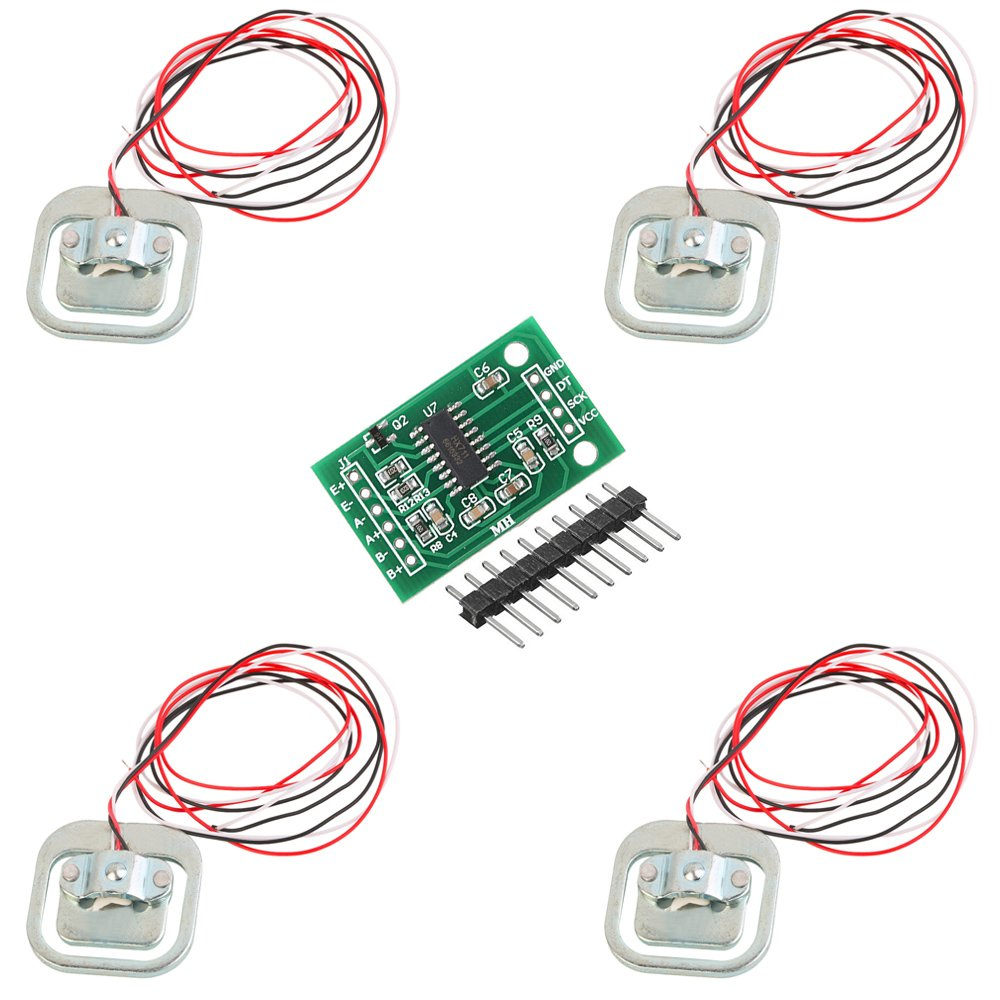CHENBO(TM)4Pcs 50kg Load Cell Body Scale Weight Weighting Sensor Half-Bridge/Amplifier with 1pcs HX711 A/D Module for Arduino