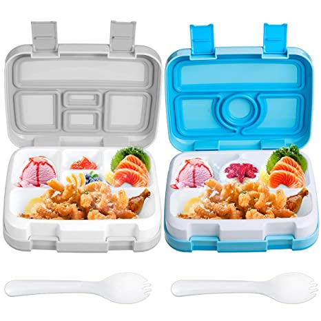 0d6aeb44b632 Childrens Lunch Bento Box for Kids Lunch Boxes 2 Pack Large Compartment  Food Container with Spoon BPA-Free,Leak Proof Meal Prep Organizer for ...