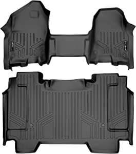 MAXLINER Floor Mats 2 Row Liner Set (Both Rows 1pc) Black for 2019-2021 Ram 1500 Crew Cab with Front Row Bench Seat